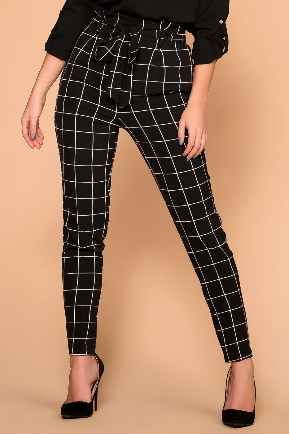 Shop Priceless | Black | Checked | Paperbag Pants | Womens