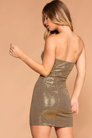 Priceless | Gold | Strapless Bodycon Dress | Womens