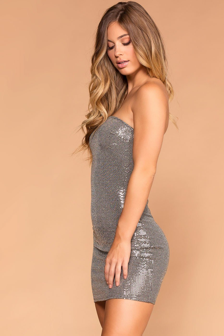 Priceless | Silver | Strapless Bodycon Dress | Womens