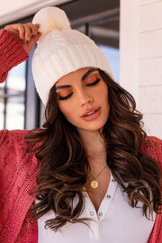 Shine On White Cable Knit Beanie