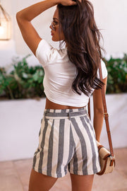 Grey Striped Paperbag Shorts