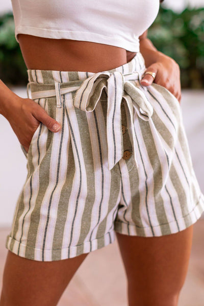 Sage Striped Paperbag Shorts