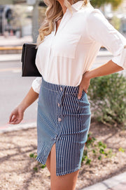 Stripes Buttoned Pencil Skirt
