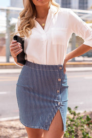 Show Your Stripes Buttoned Pencil Skirt