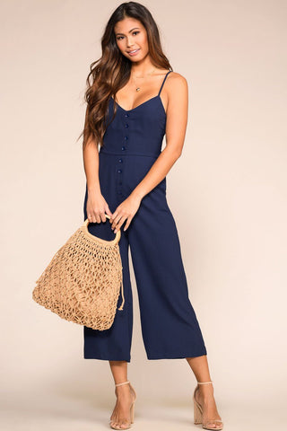 Lace Me Be Jumpsuit - Raisin