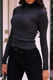 Signature Charcoal Ribbed Turtleneck