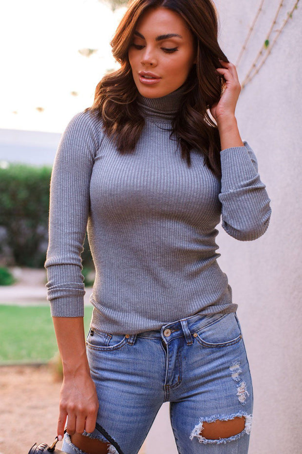 Heather Grey Ribbed Turtleneck
