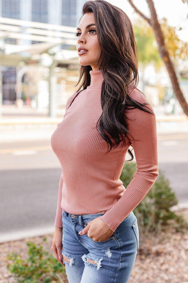 Signature Mauve Ribbed Turtleneck