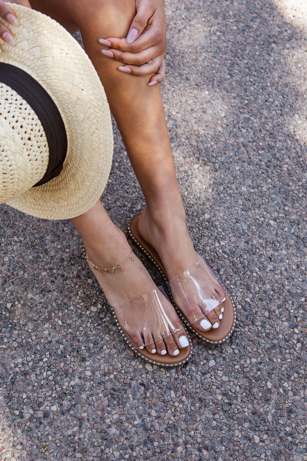 Clear Slide-On Sandals