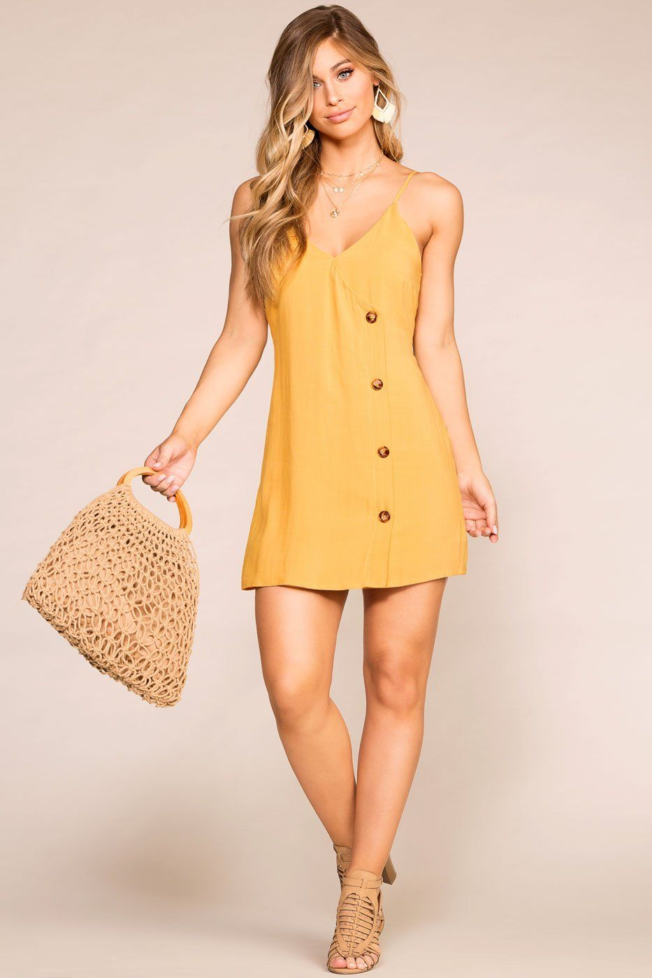 Priceless | Mustard | Button Dress | Womens