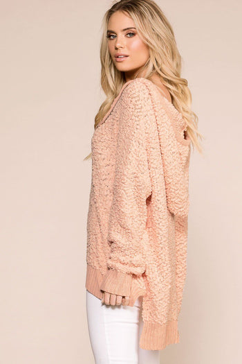 Priceless | Peach | Oversize Hoodie Top | Popcorn Top | Womens