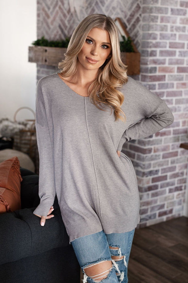 Sleepy Sunday Heather Grey Oversize Sweater