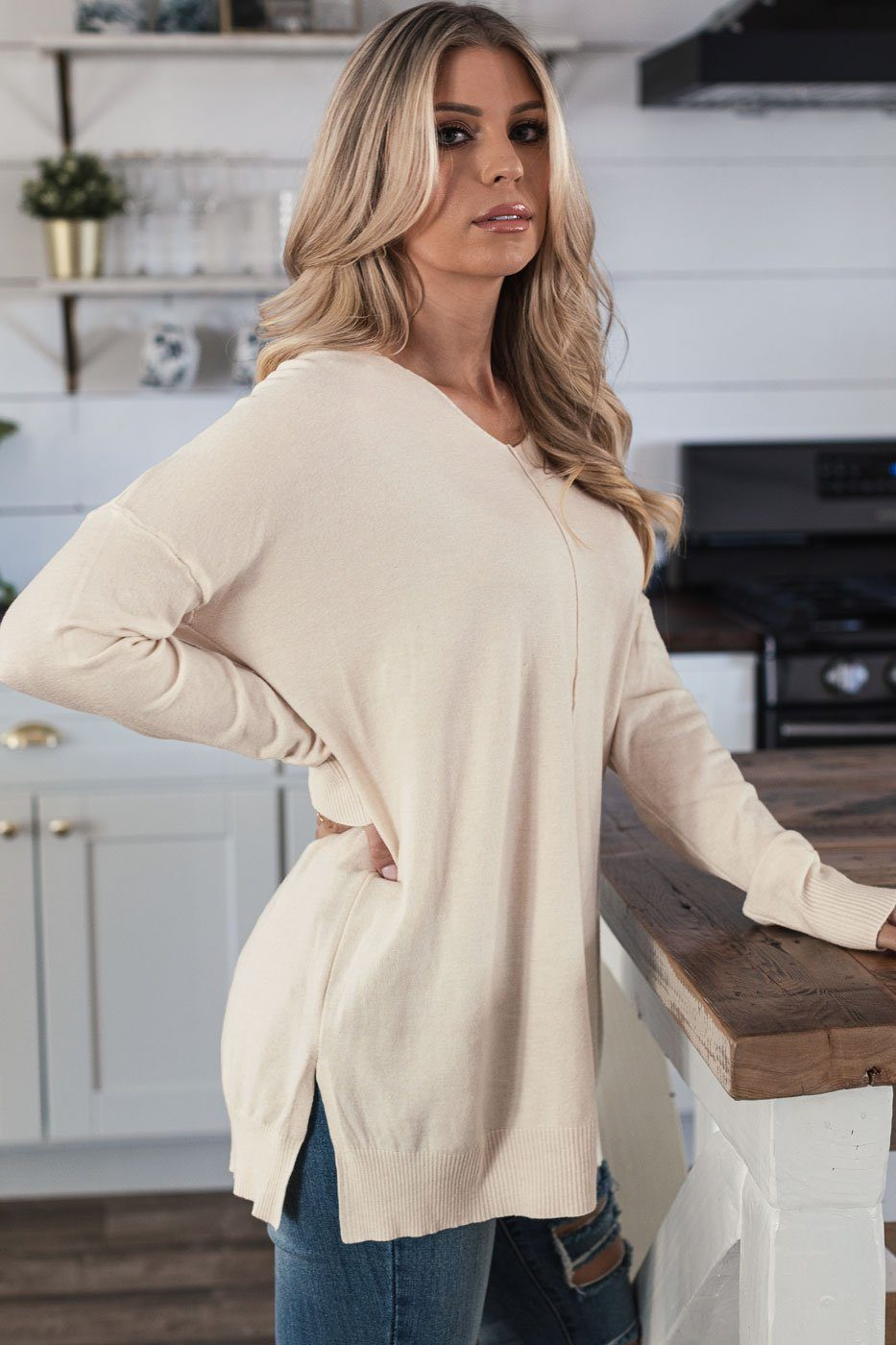 Ivory Oversized Sweater Top