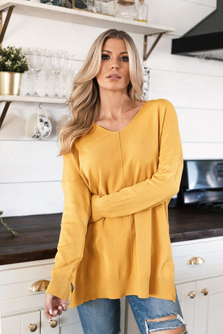 In The Middle Mustard Loose V-Neck Tee