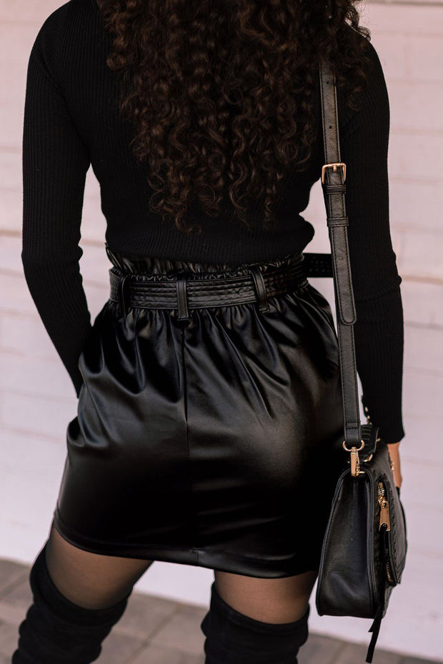 Smooth Operator Black Vegan Leather Belted Skirt