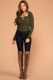 Snap It Olive Ribbed Long Sleeve Crop Top | Hearts & Hips