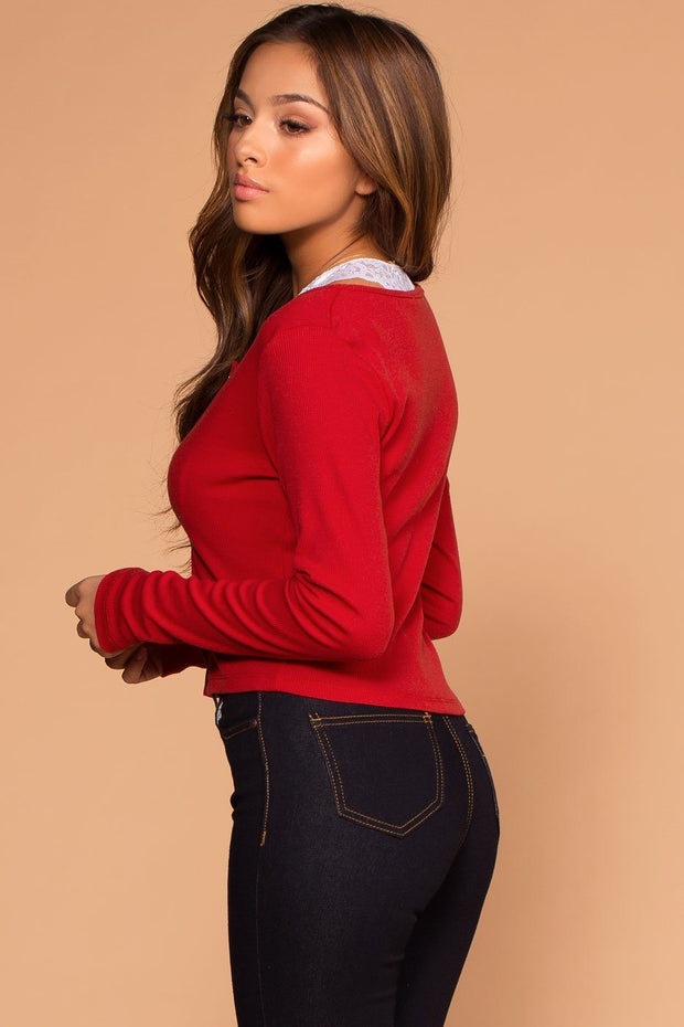 Snap It Red Ribbed Long Sleeve Crop Top | Shop Priceless