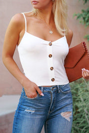 White Buttoned Crop Top