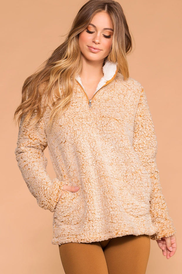 Snowstorm Mustard Sherpa Pullover Jacket Top | Shop Priceless