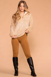 Priceless | Camel | Seamless Control Top Fleece Leggings | Womens