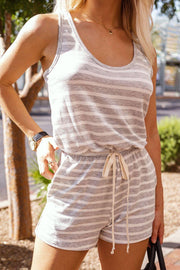 Heather Grey Striped Romper