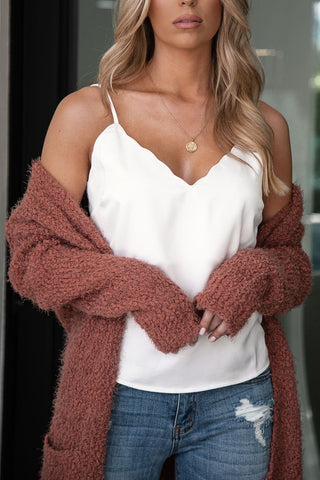 Carried Away Brick V-Neck Top