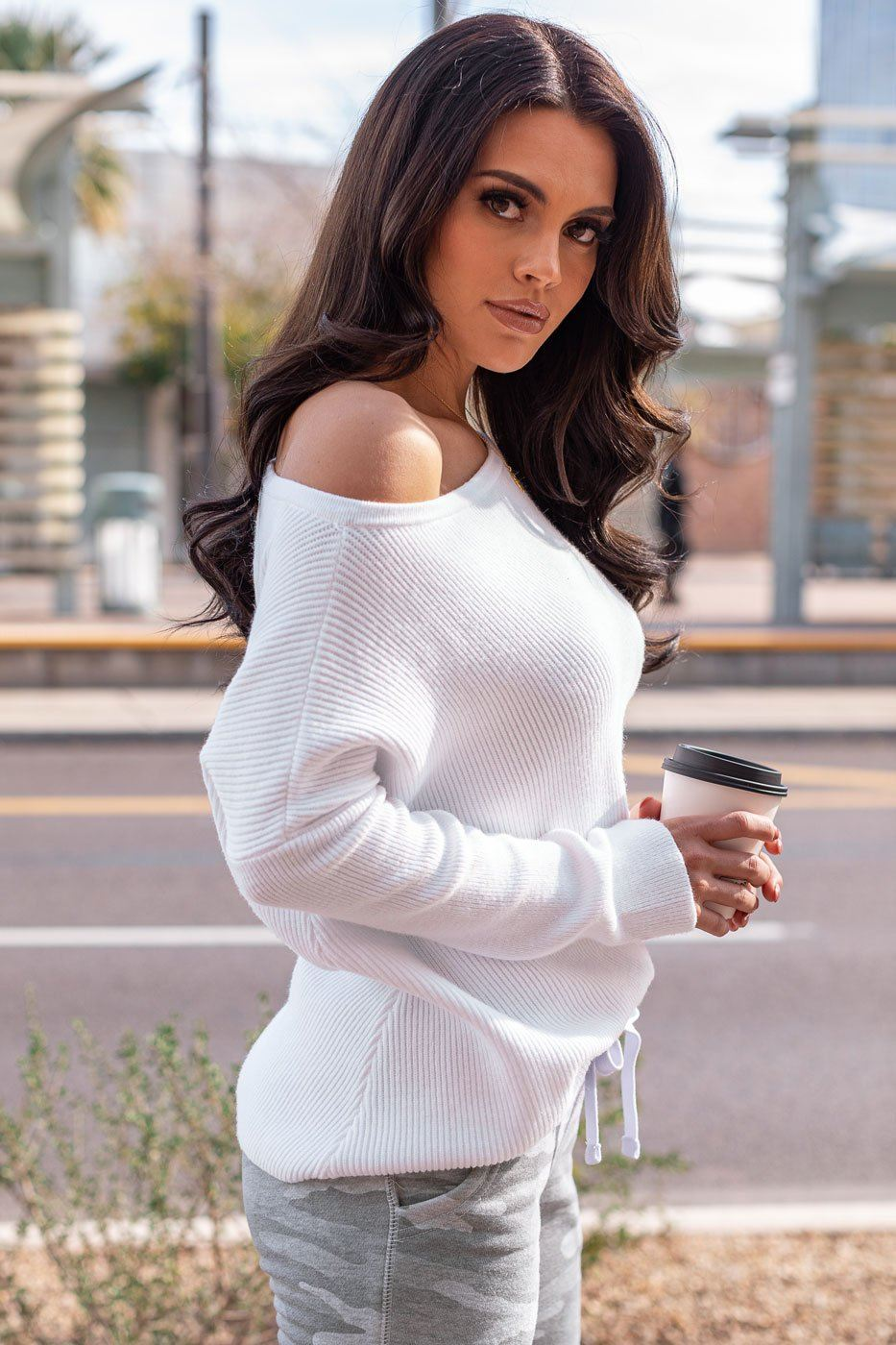 White Ribbed Oversize Top