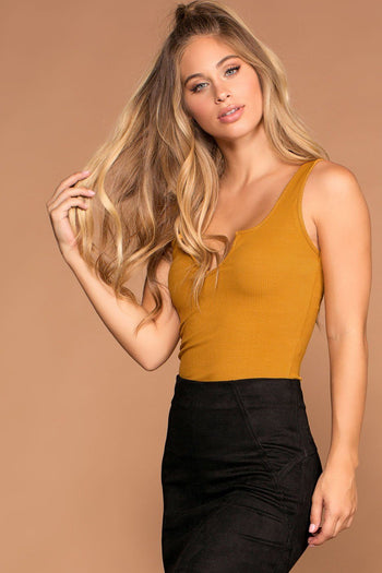 Sophie Amber Ribbed Crop Tank Top