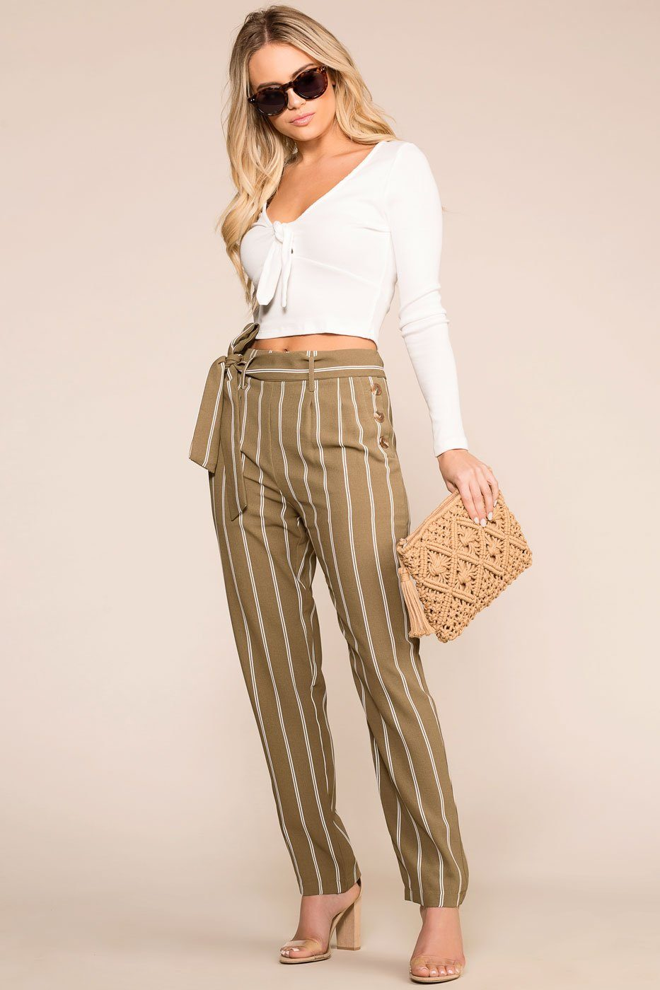 Priceless | Olive | Striped Pants | Womens