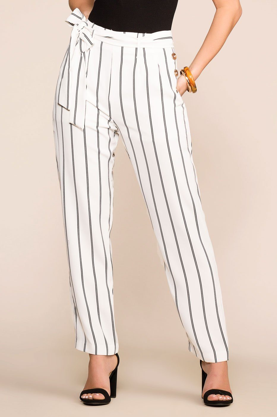 Priceless | White | Striped Pants | Womens