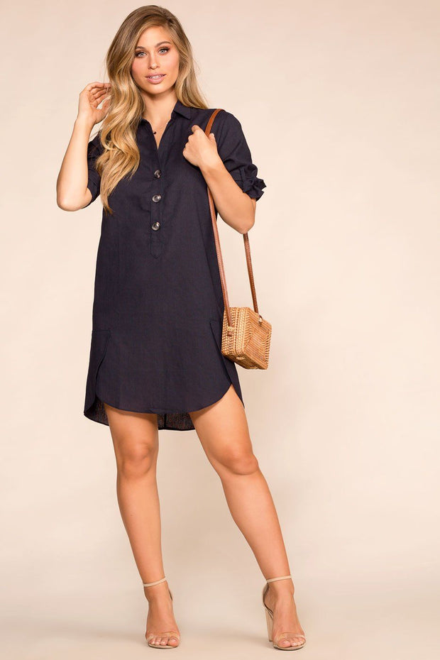 Navy Shirt Dress with Elbow Length Sleeves and Buttons