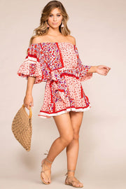 Priceless | Off The Shoulder Dress | Red | Floral | Womens