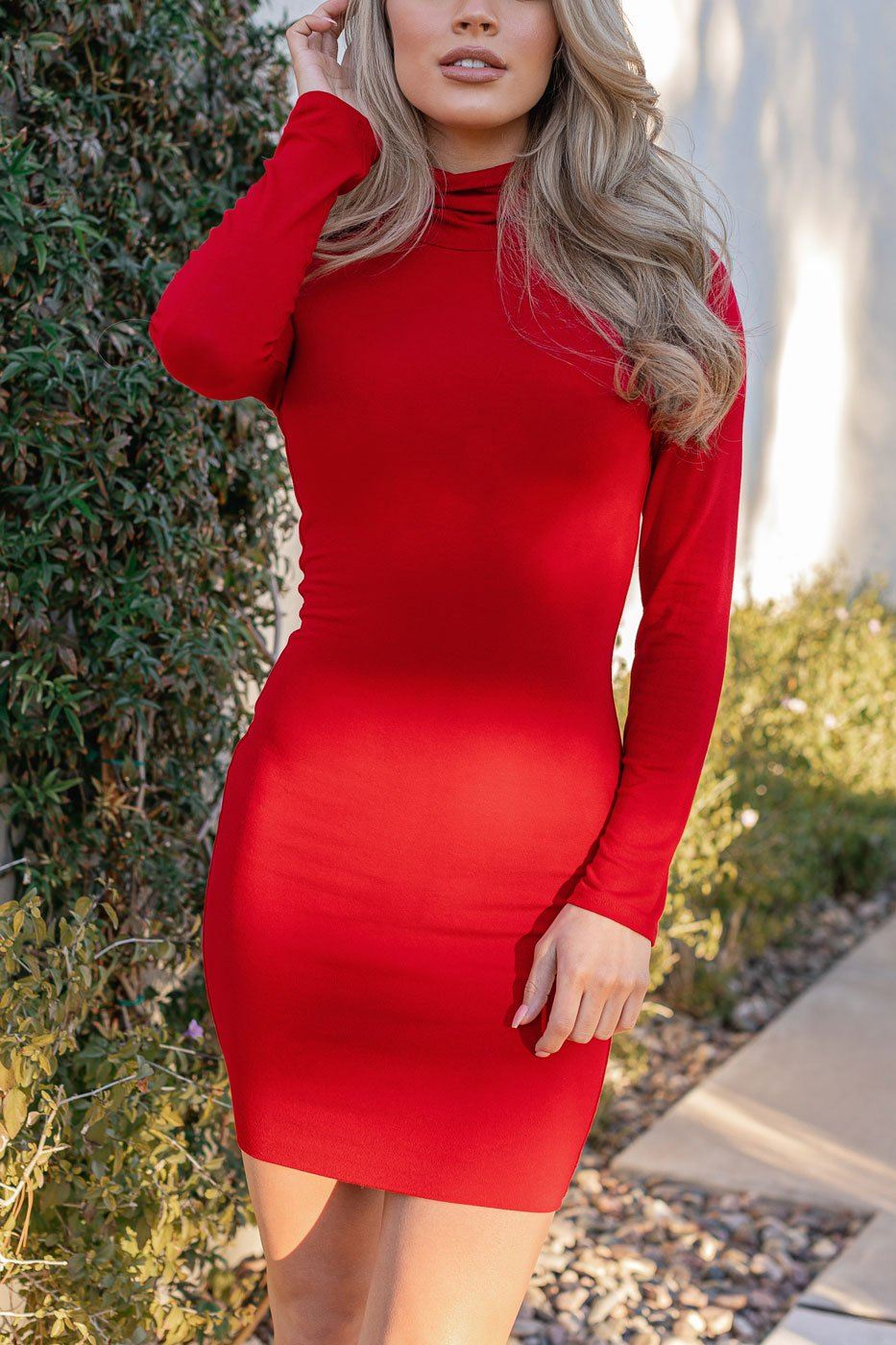 Red Turtleneck Long Sleeve Bodycon Dress