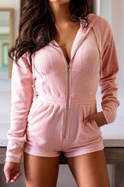 Pink Zip-Up Romper