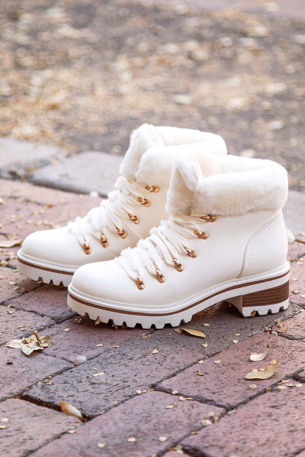 Stand By Me White Vegan Fur Boots