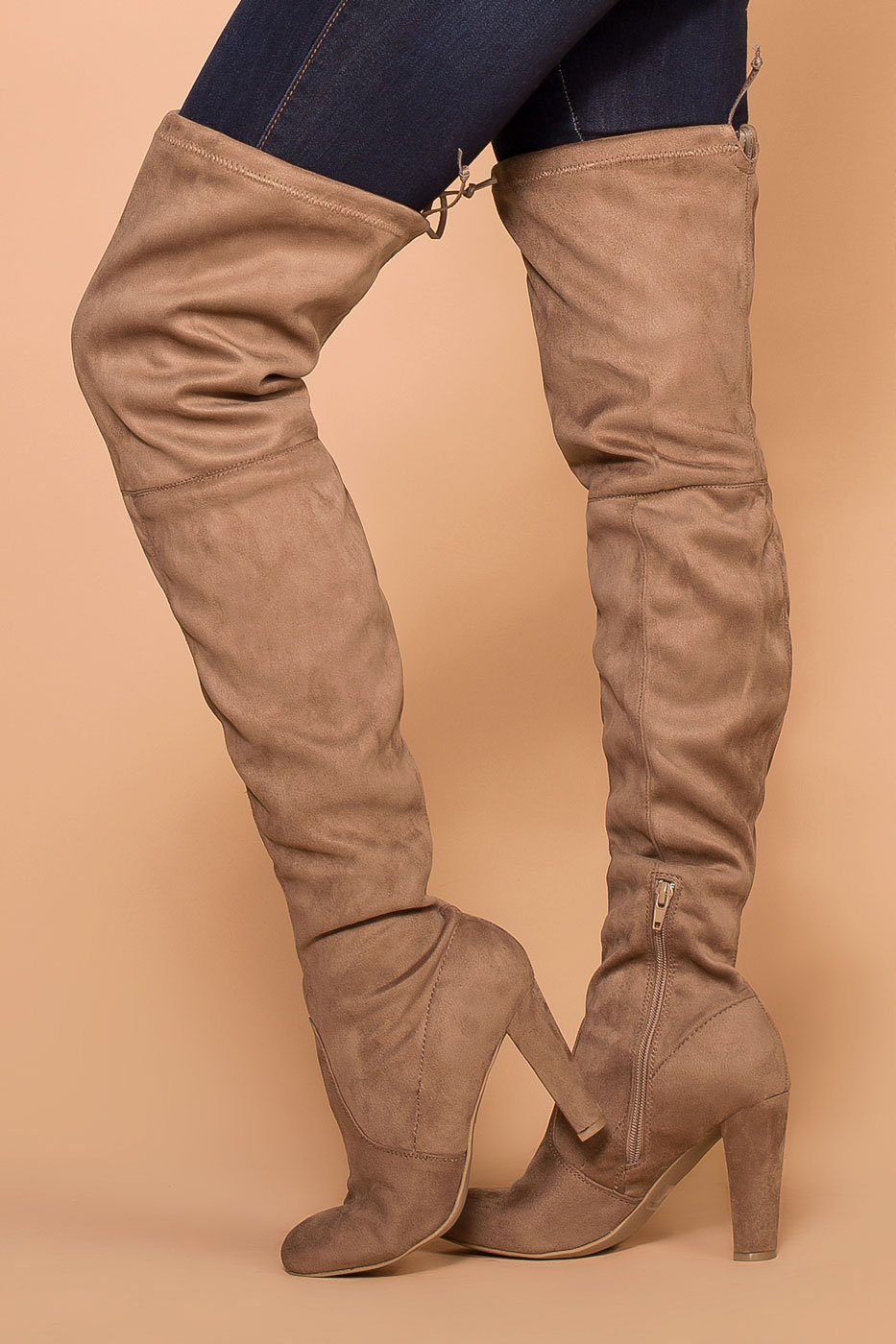 ba678cfc691 Stand Tall Taupe Over The Knee Suede Boots