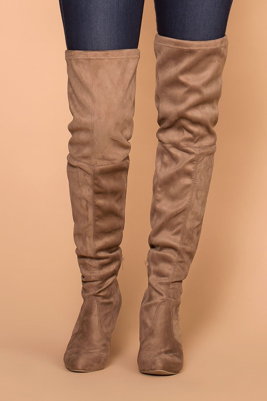 ddb6201b14d2 Stand Tall Taupe Over The Knee Suede Boots