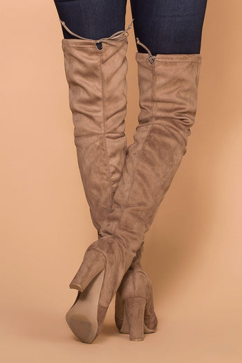 Priceless | Taupe | Over the Knee Suede Boots | Shoes | Womens