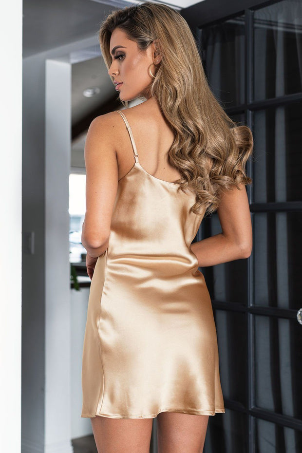 Champagne Satin Mini Dress