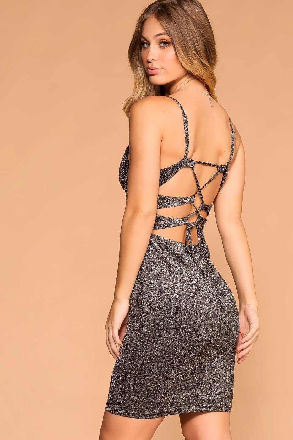 Silver | Bodycon Dress | Strappy | Lace up back | Womens | Priceless