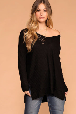 Elsa Lace Up Sweater - Black