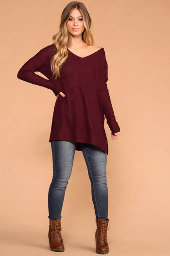 Burgundy | Waffle Knit Sweater Top | V-Neck | Priceless