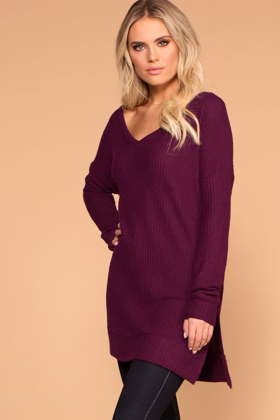 Stay True Plum V-Neck Waffle Knit Sweater Top  ba7565f62