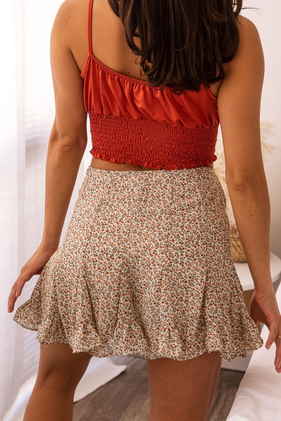 Beige Floral Mini Skirt