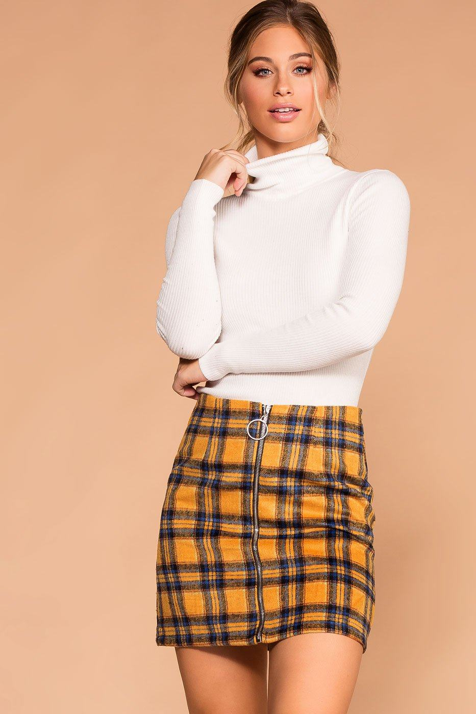 Stockton Mustard Plaid Skirt | Shop Priceless
