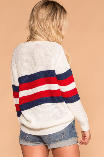 White | Blue and Red | Striped Sweater | Womens | Priceless