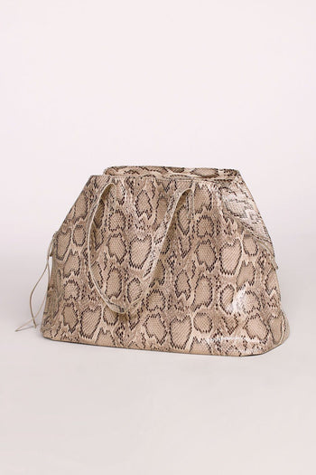 Beige Snakeskin Oversized Purse