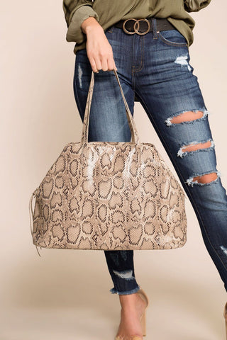 Good Catch Taupe Net Handbag