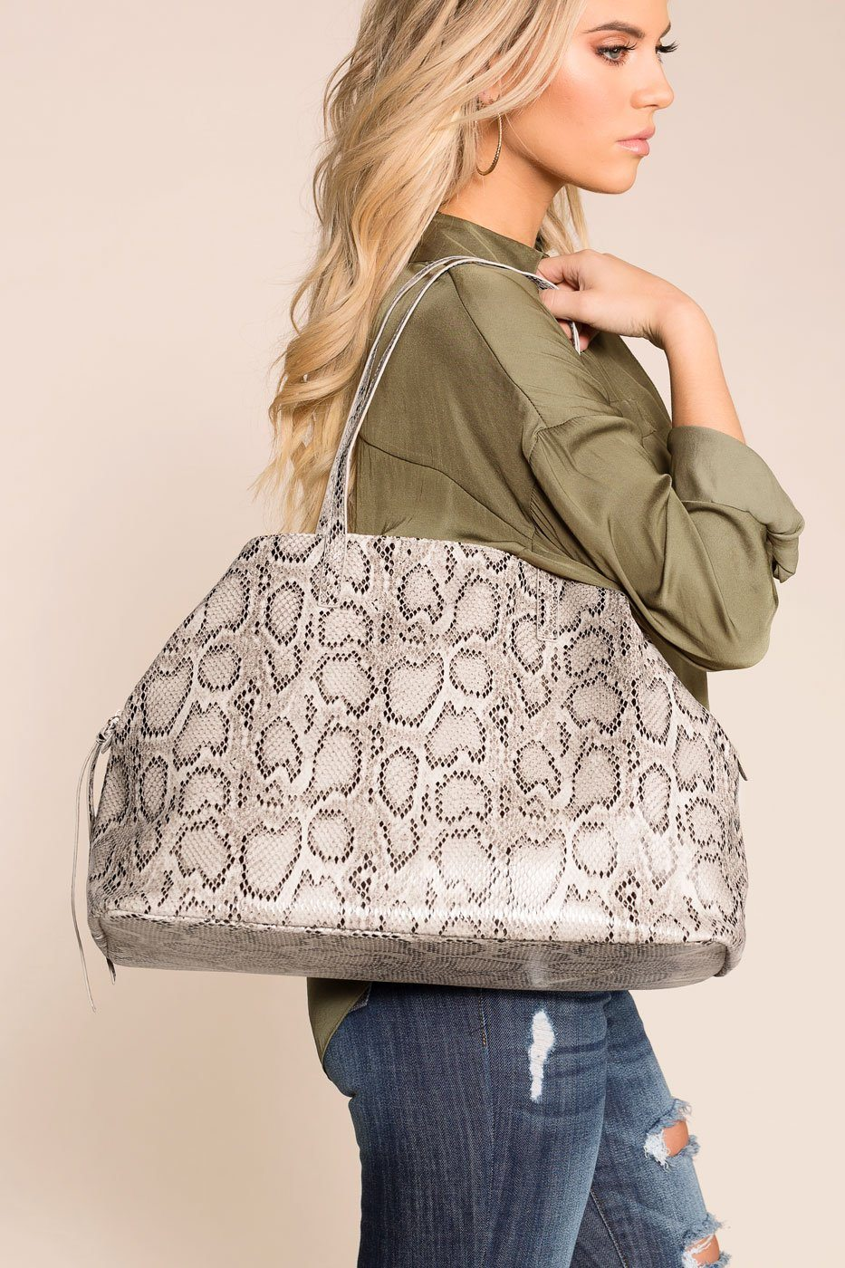 Stylin' White SnakeEmbossed Bag | Shop Priceless
