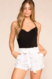 White Linen High Waisted Shorts